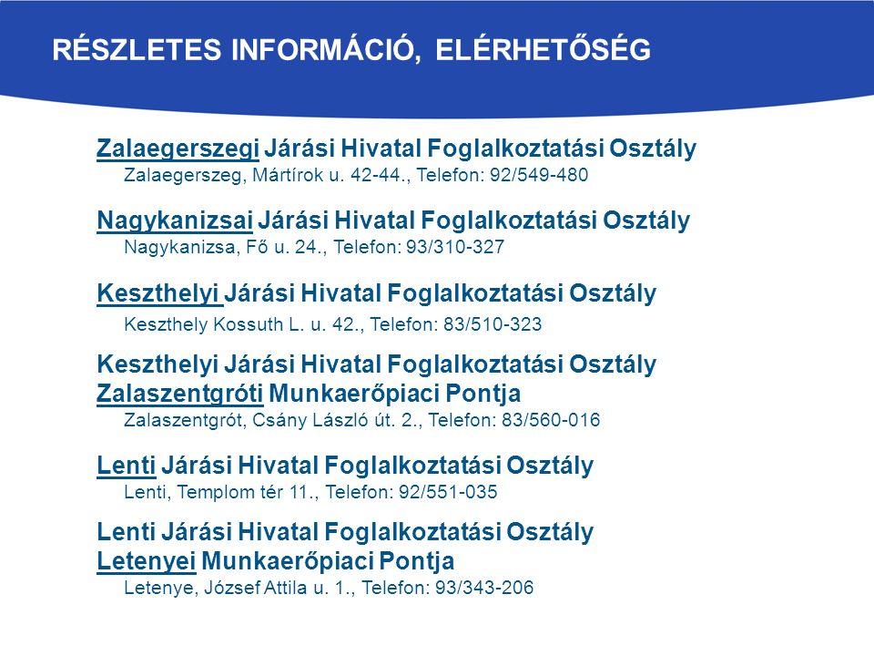 RÉSZLETES INFORMÁCIÓ, ELÉRHETŐSÉG Zalaegerszegi Járási Hivatal Foglalkoztatási Osztály Zalaegerszeg, Mártírok u.
