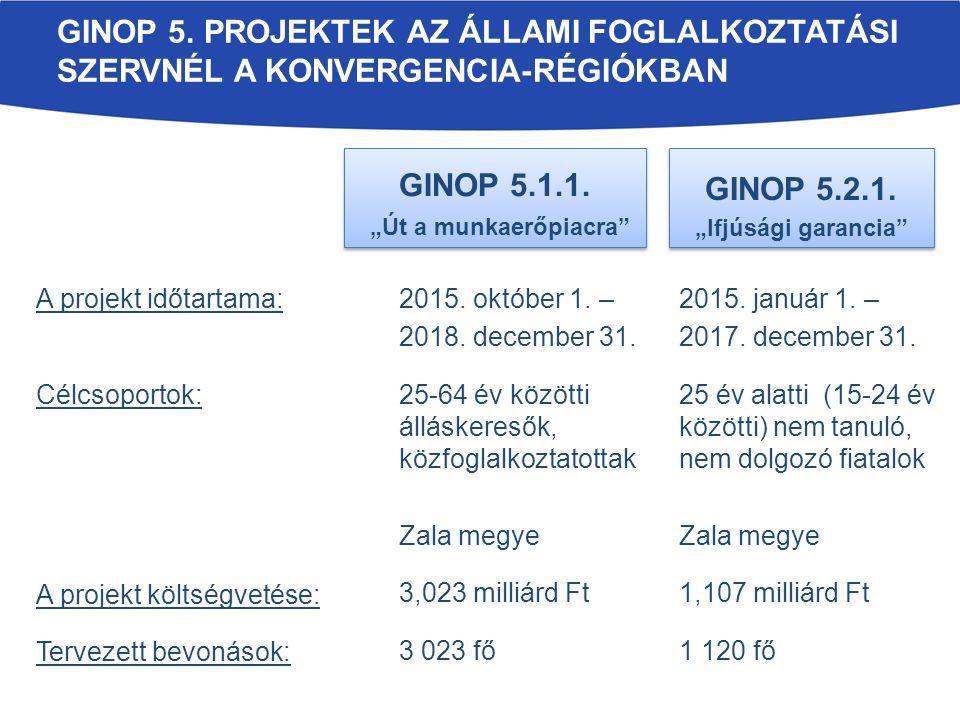 GINOP 5. PROJEKTEK AZ ÁLLAMI FOGLALKOZTATÁSI SZERVNÉL A KONVERGENCIA-RÉGIÓKBAN GINOP 5.1.1.