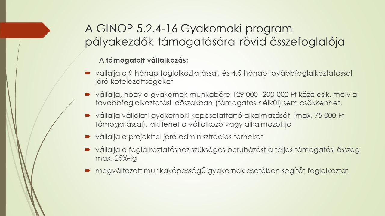 A GINOP 5.2.4-16 Gyakornoki program pályakezdők támogatására rövid összefoglalója A támogatott vállalkozás:  vállalja a 9 hónap foglalkoztatással, és 4,5 hónap továbbfoglalkoztatással járó kötelezettségeket  vállalja, hogy a gyakornok munkabére 129 000 -200 000 Ft közé esik, mely a továbbfoglalkoztatási időszakban (támogatás nélkül) sem csökkenhet.