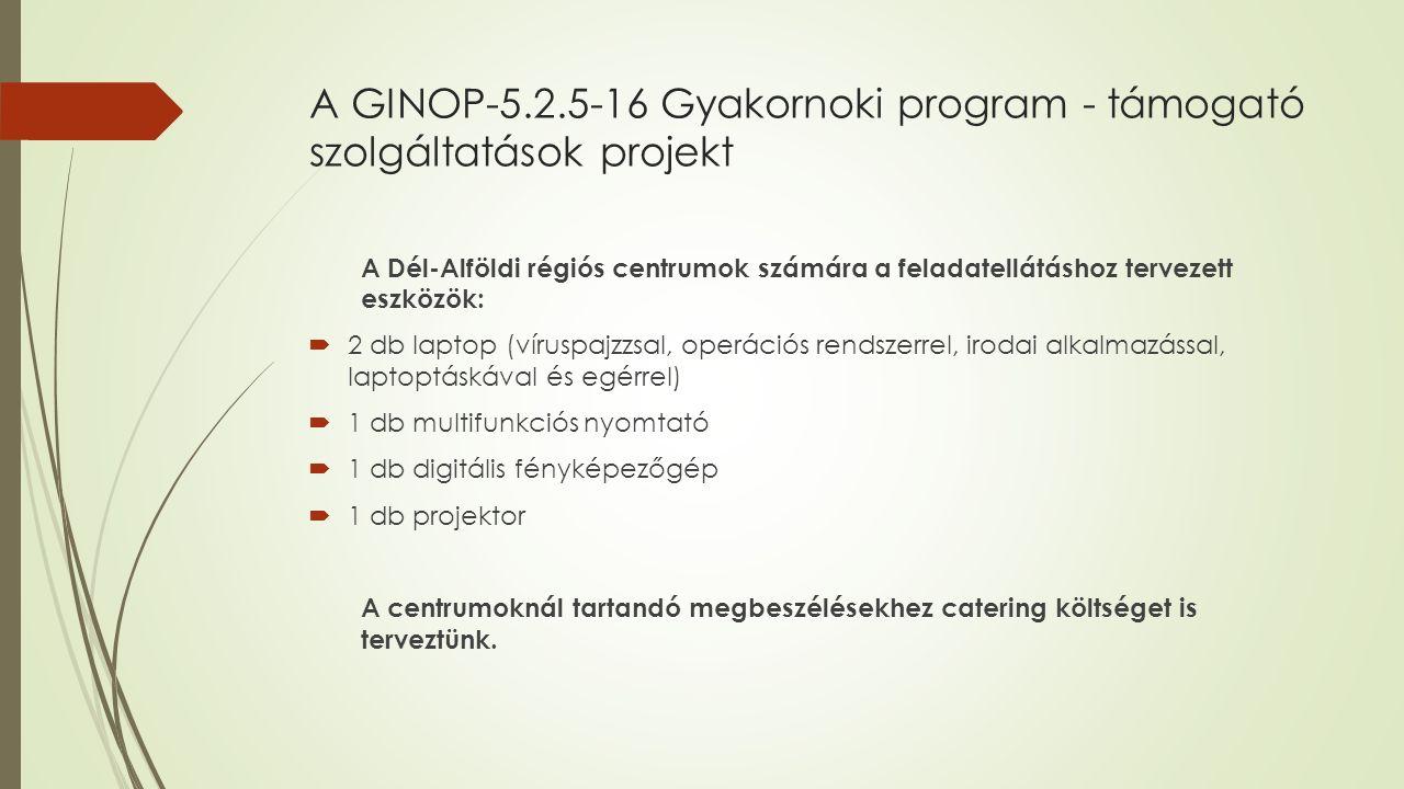 A GINOP-5.2.5-16 Gyakornoki program - támogató szolgáltatások projekt A Dél-Alföldi régiós centrumok számára a feladatellátáshoz tervezett eszközök:  2 db laptop (víruspajzzsal, operációs rendszerrel, irodai alkalmazással, laptoptáskával és egérrel)  1 db multifunkciós nyomtató  1 db digitális fényképezőgép  1 db projektor A centrumoknál tartandó megbeszélésekhez catering költséget is terveztünk.
