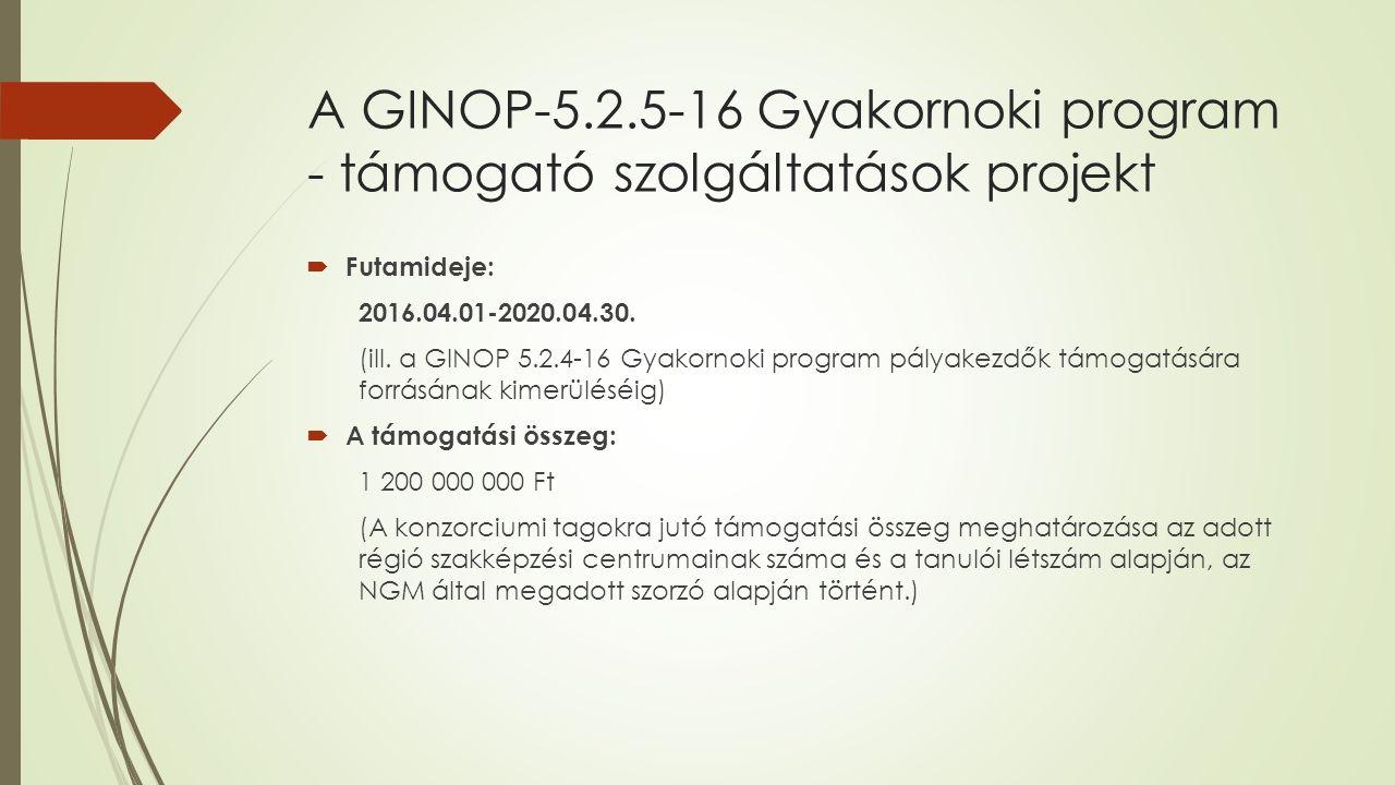 A GINOP-5.2.5-16 Gyakornoki program - támogató szolgáltatások projekt  Futamideje: 2016.04.01-2020.04.30.