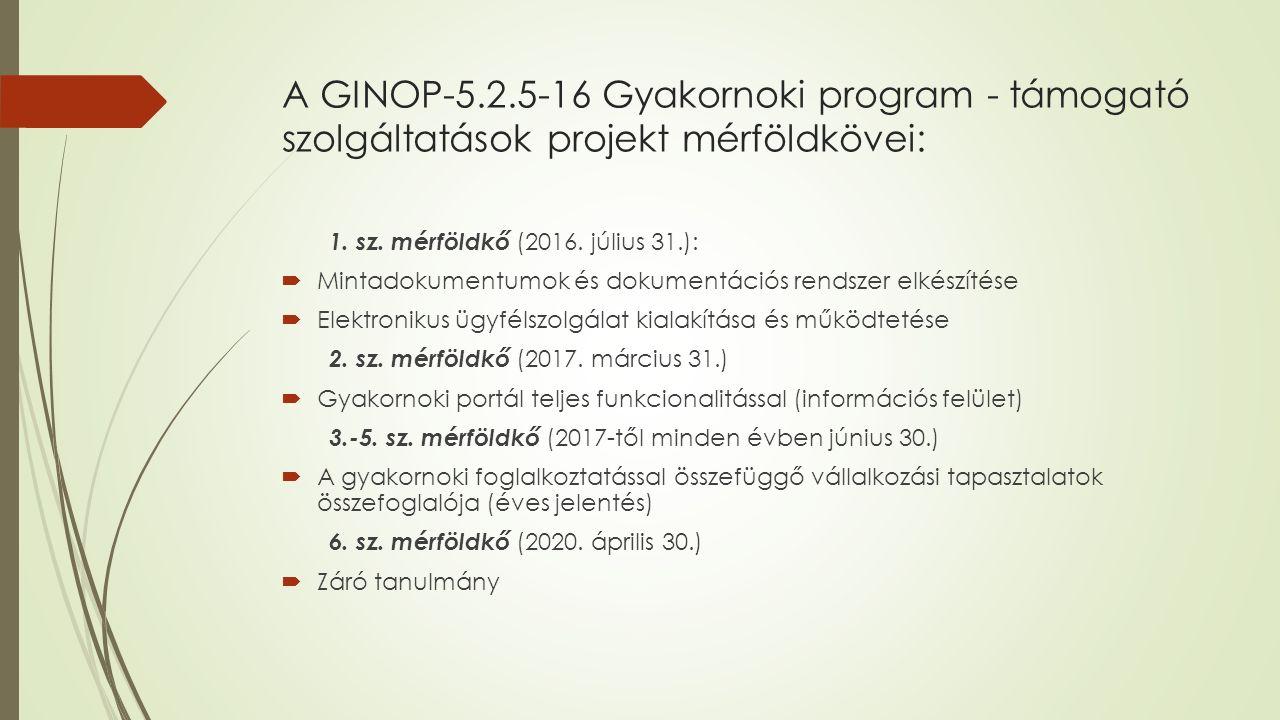 A GINOP-5.2.5-16 Gyakornoki program - támogató szolgáltatások projekt mérföldkövei: 1.