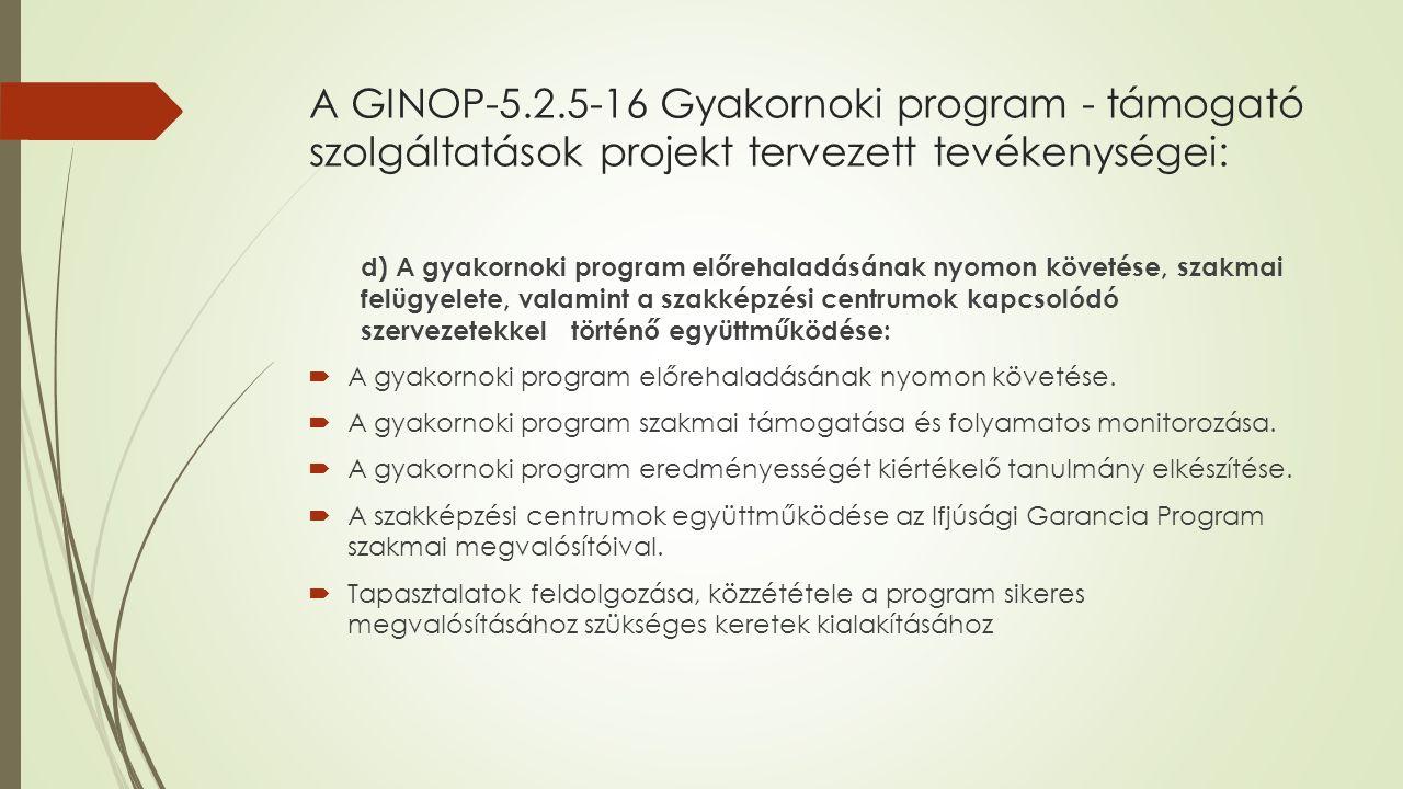 A GINOP-5.2.5-16 Gyakornoki program - támogató szolgáltatások projekt tervezett tevékenységei: d) A gyakornoki program előrehaladásának nyomon követése, szakmai felügyelete, valamint a szakképzési centrumok kapcsolódó szervezetekkel történő együttműködése:  A gyakornoki program előrehaladásának nyomon követése.