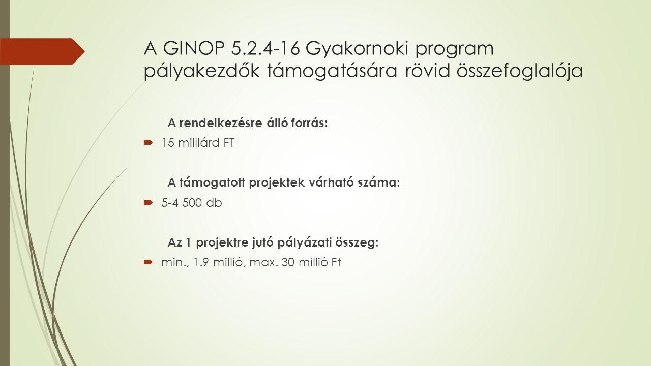 A GINOP 5.2.4-16 Gyakornoki program pályakezdők támogatására rövid összefoglalója A rendelkezésre álló forrás:  15 milliárd FT A támogatott projektek várható száma:  5-4 500 db Az 1 projektre jutó pályázati összeg:  min., 1.9 millió, max.