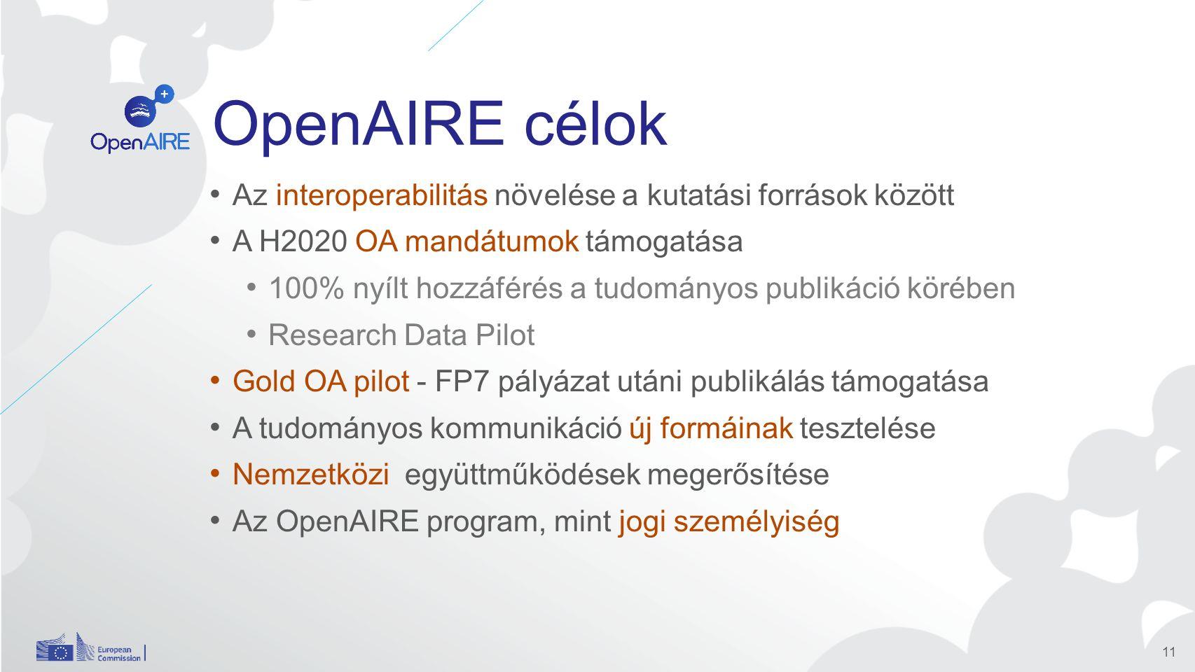 OpenAIRE célok Az interoperabilitás növelése a kutatási források között A H2020 OA mandátumok támogatása 100% nyílt hozzáférés a tudományos publikáció körében Research Data Pilot Gold OA pilot - FP7 pályázat utáni publikálás támogatása A tudományos kommunikáció új formáinak tesztelése Nemzetközi együttműködések megerősítése Az OpenAIRE program, mint jogi személyiség 11
