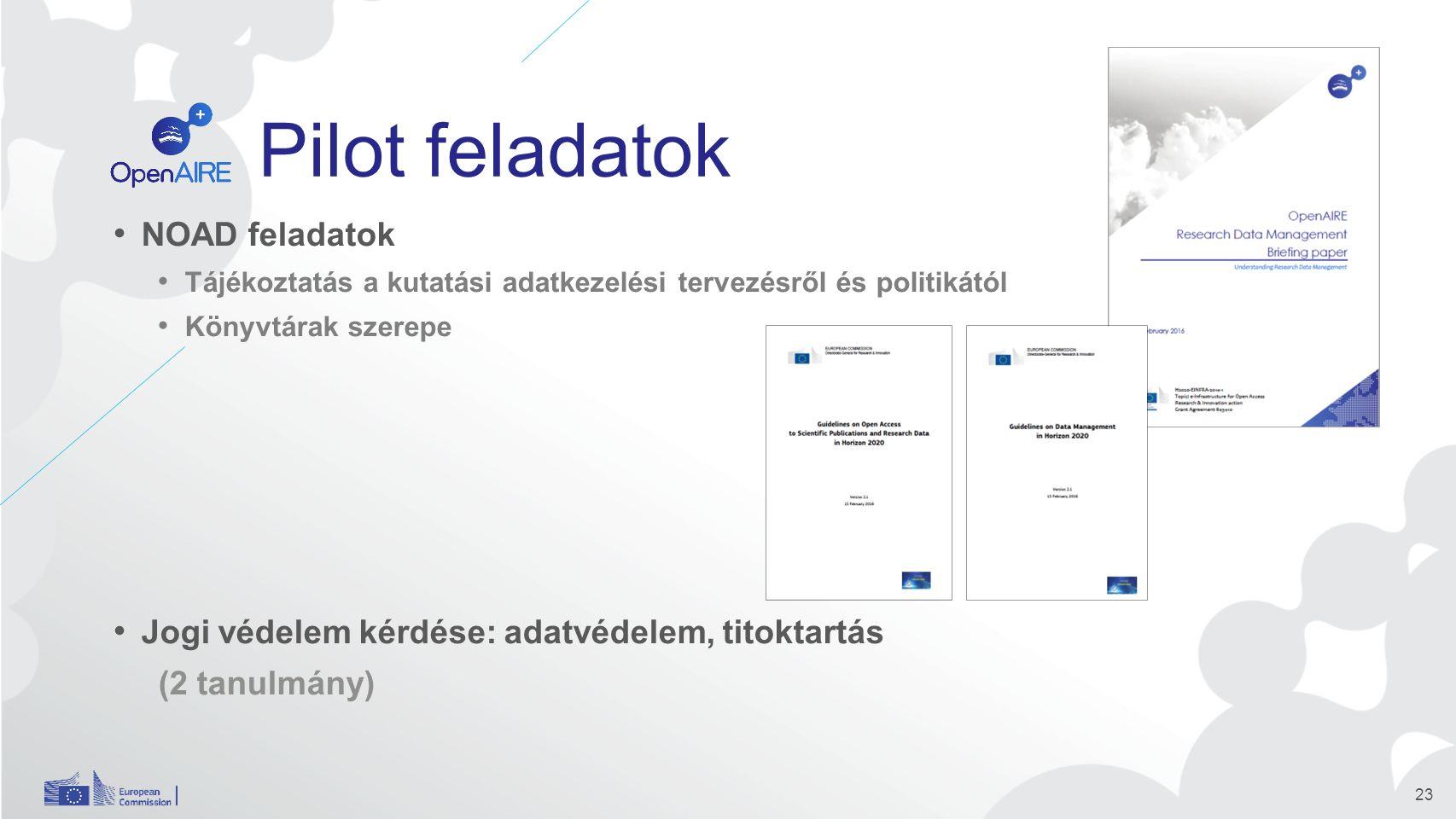 Pilot feladatok NOAD feladatok Tájékoztatás a kutatási adatkezelési tervezésről és politikától Könyvtárak szerepe Jogi védelem kérdése: adatvédelem, titoktartás (2 tanulmány) 23