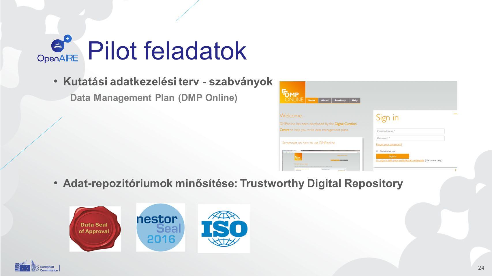 Pilot feladatok Kutatási adatkezelési terv - szabványok Data Management Plan (DMP Online) Adat-repozitóriumok minősítése: Trustworthy Digital Repository 24