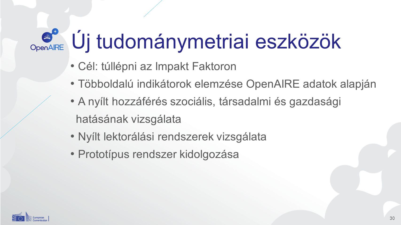 Új tudománymetriai eszközök Cél: túllépni az Impakt Faktoron Többoldalú indikátorok elemzése OpenAIRE adatok alapján A nyílt hozzáférés szociális, társadalmi és gazdasági hatásának vizsgálata Nyílt lektorálási rendszerek vizsgálata Prototípus rendszer kidolgozása 30
