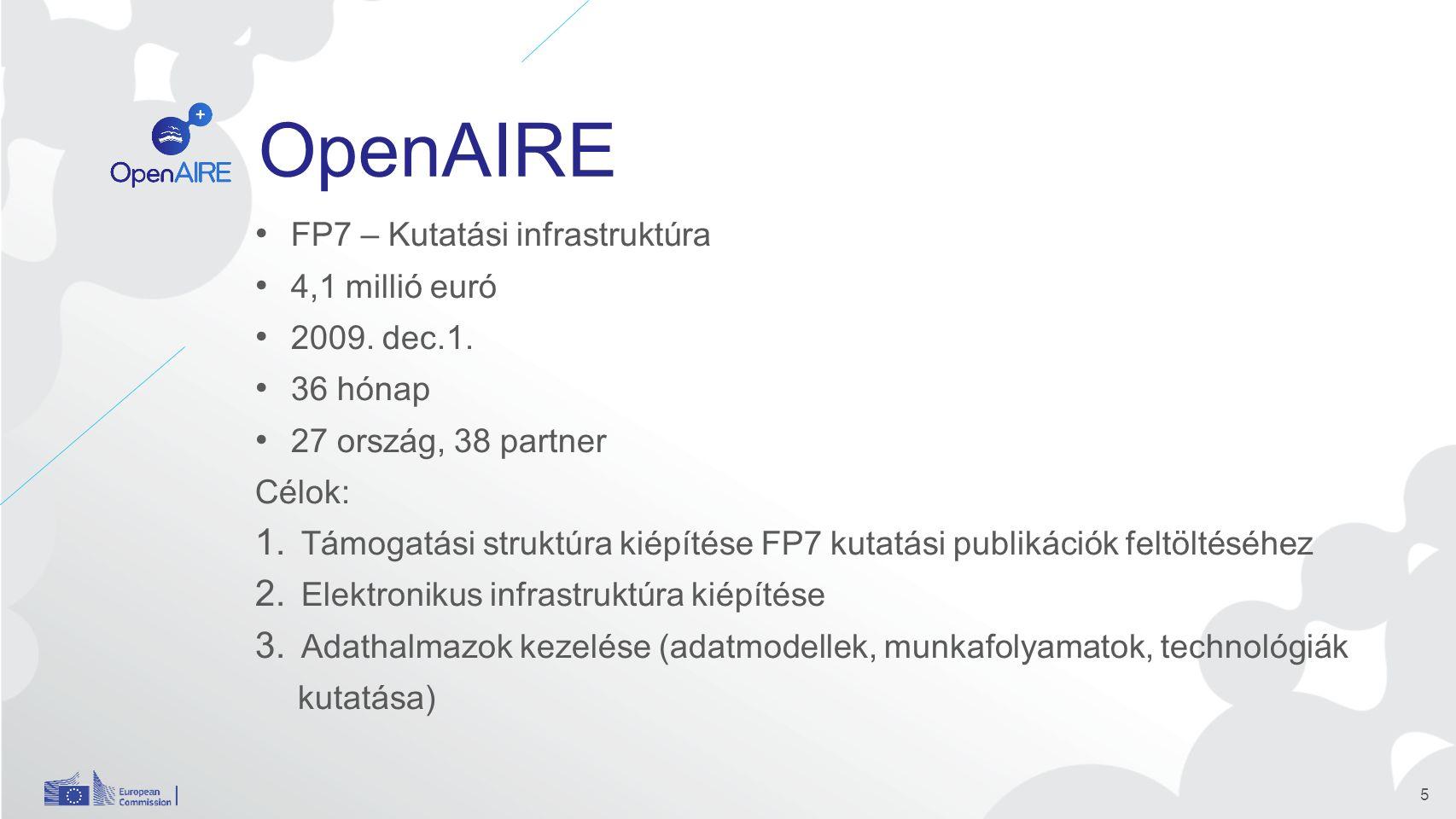 OpenAIRE FP7 – Kutatási infrastruktúra 4,1 millió euró 2009.
