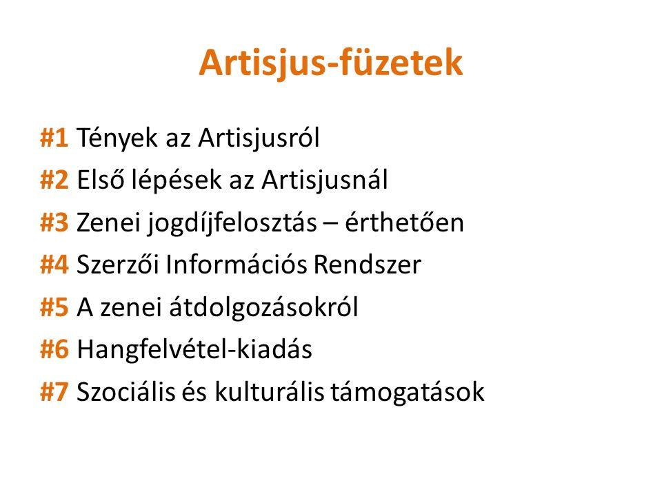 Artisjus-füzetek #1 Tények az Artisjusról #2 Első lépések az Artisjusnál #3 Zenei jogdíjfelosztás – érthetően #4 Szerzői Információs Rendszer #5 A zenei átdolgozásokról #6 Hangfelvétel-kiadás #7 Szociális és kulturális támogatások