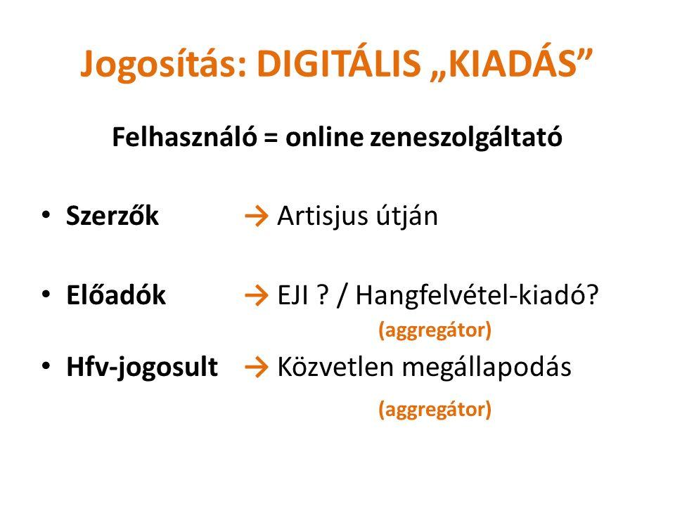 """Jogosítás: DIGITÁLIS """"KIADÁS Felhasználó = online zeneszolgáltató Szerzők→ Artisjus útján Előadók→ EJI ."""
