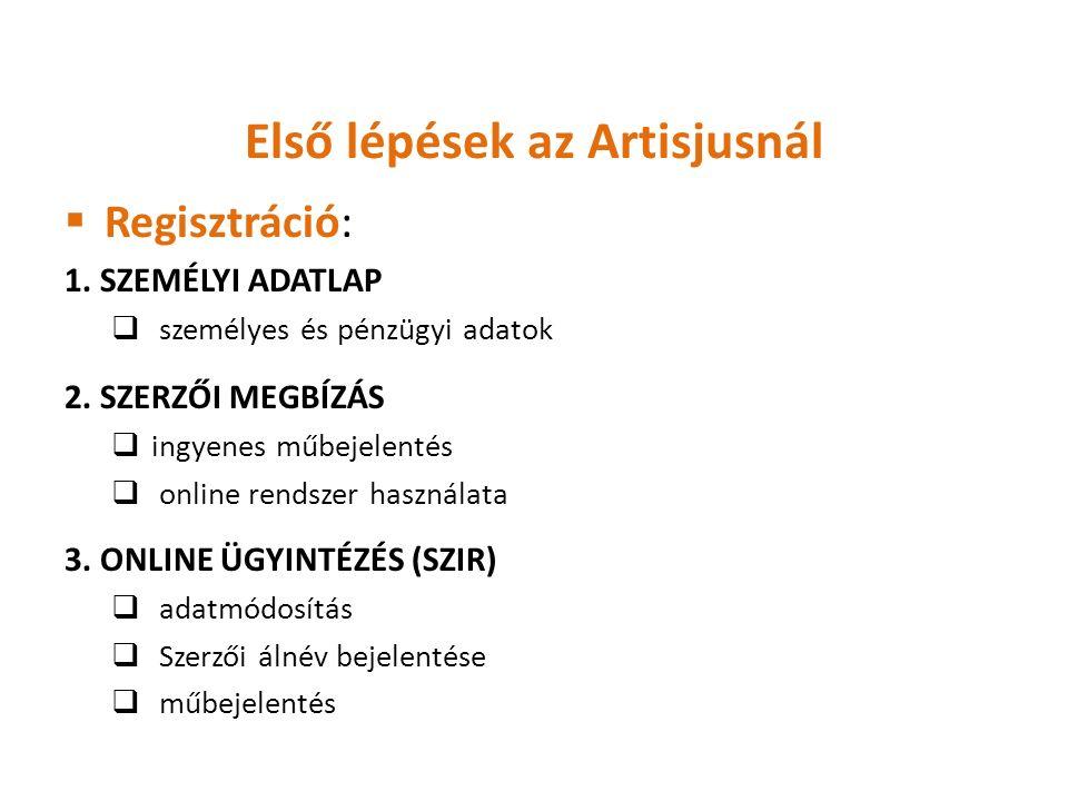 Első lépések az Artisjusnál  Regisztráció: 1. SZEMÉLYI ADATLAP  személyes és pénzügyi adatok 2.