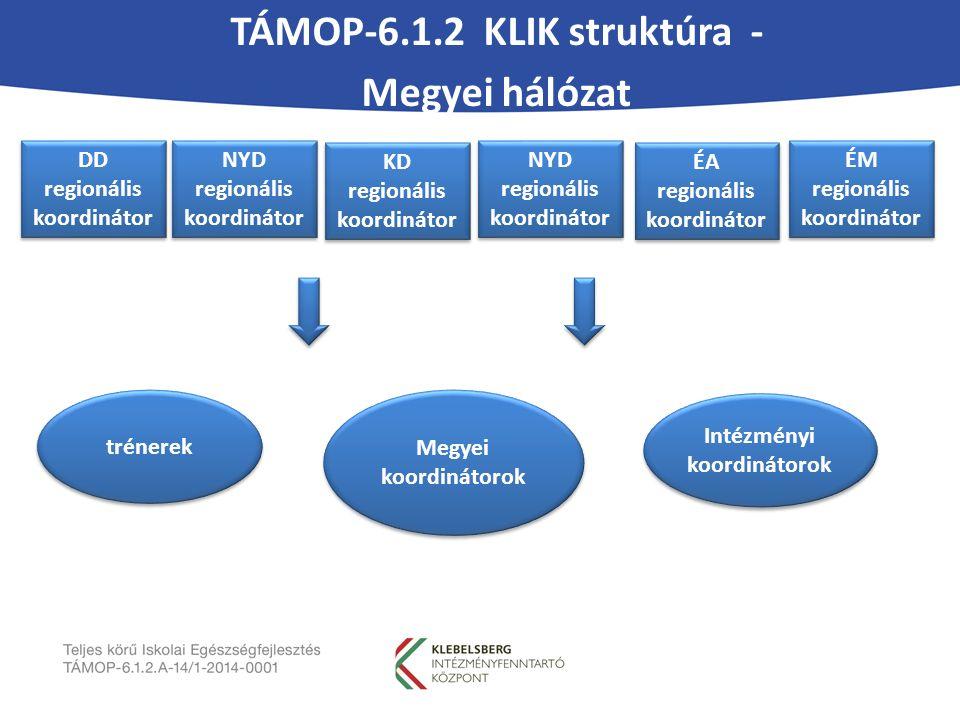 TÁMOP-6.1.2 KLIK struktúra - Megyei hálózat DD regionális koordinátor NYD regionális koordinátor KD regionális koordinátor NYD regionális koordinátor ÉA regionális koordinátor ÉM regionális koordinátor trénerek Megyei koordinátorok Intézményi koordinátorok