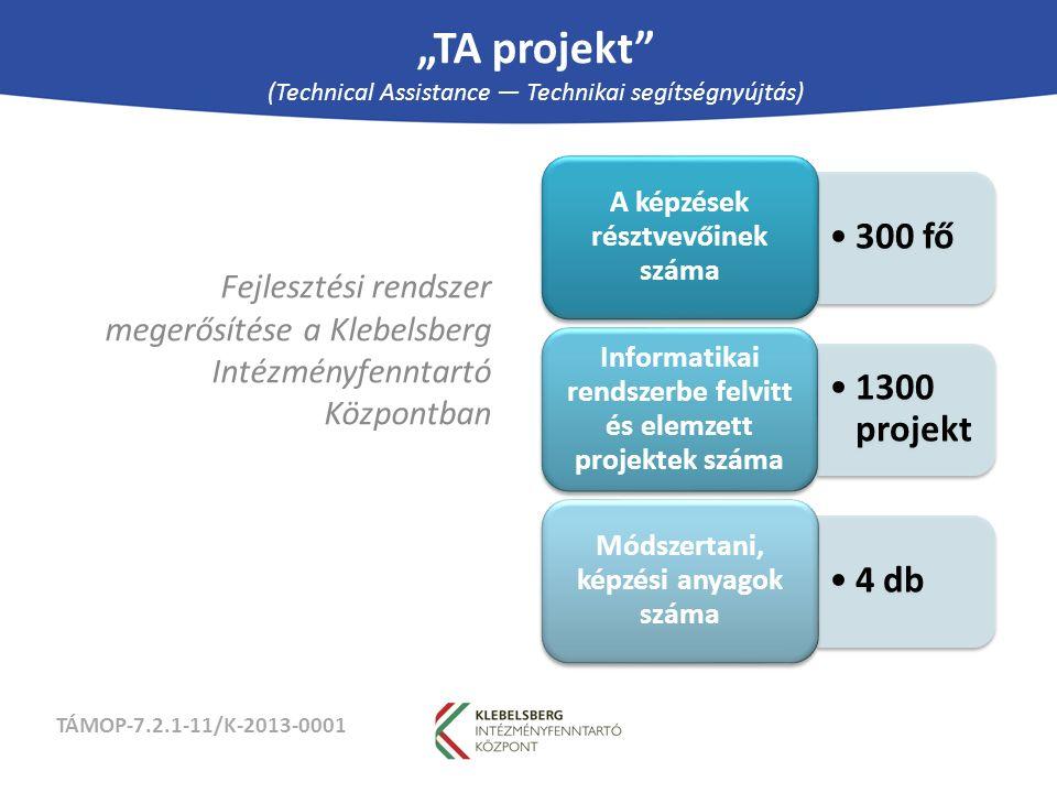 """TÁMOP-7.2.1-11/K-2013-0001 """"TA projekt (Technical Assistance — Technikai segítségnyújtás) Fejlesztési rendszer megerősítése a Klebelsberg Intézményfenntartó Központban 300 fő A képzések résztvevőinek száma 1300 projekt Informatikai rendszerbe felvitt és elemzett projektek száma 4 db Módszertani, képzési anyagok száma"""