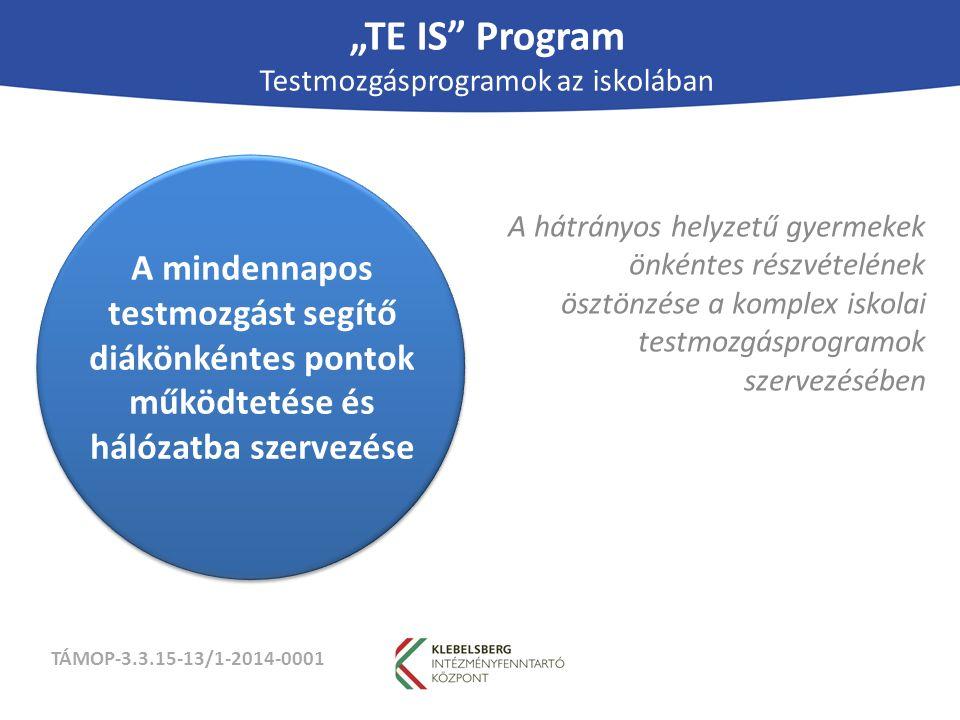 """TÁMOP-3.3.15-13/1-2014-0001 """"TE IS Program Testmozgásprogramok az iskolában A hátrányos helyzetű gyermekek önkéntes részvételének ösztönzése a komplex iskolai testmozgásprogramok szervezésében A mindennapos testmozgást segítő diákönkéntes pontok működtetése és hálózatba szervezése"""