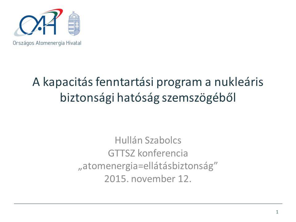"""A kapacitás fenntartási program a nukleáris biztonsági hatóság szemszögéből Hullán Szabolcs GTTSZ konferencia """"atomenergia=ellátásbiztonság"""" 2015. nov"""
