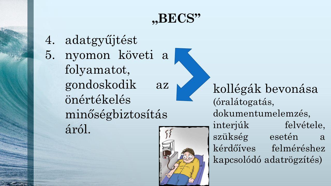 """""""BECS"""" 4.adatgyűjtést 5.nyomon követi a folyamatot, gondoskodik az önértékelés minőségbiztosítás áról. kollégák bevonása (óralátogatás, dokumentumelem"""