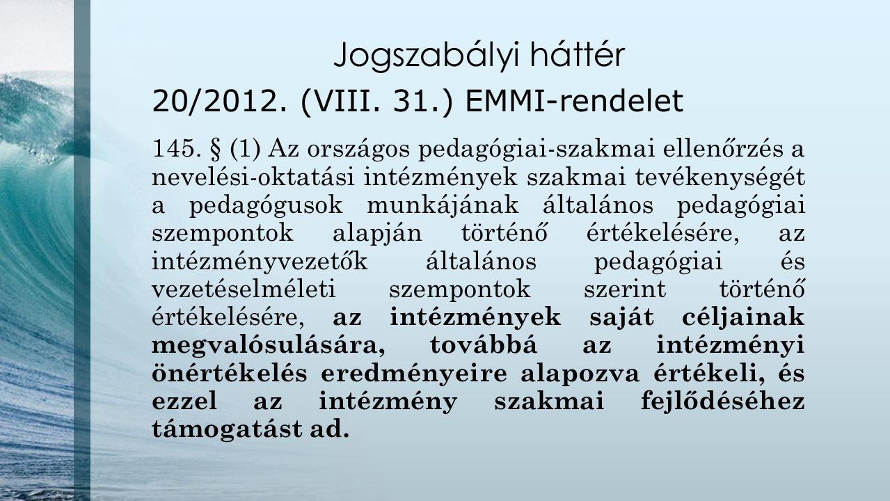 Jogszabályi háttér 20/2012. (VIII. 31.) EMMI-rendelet 145. § (1) Az országos pedagógiai-szakmai ellenőrzés a nevelési-oktatási intézmények szakmai tev