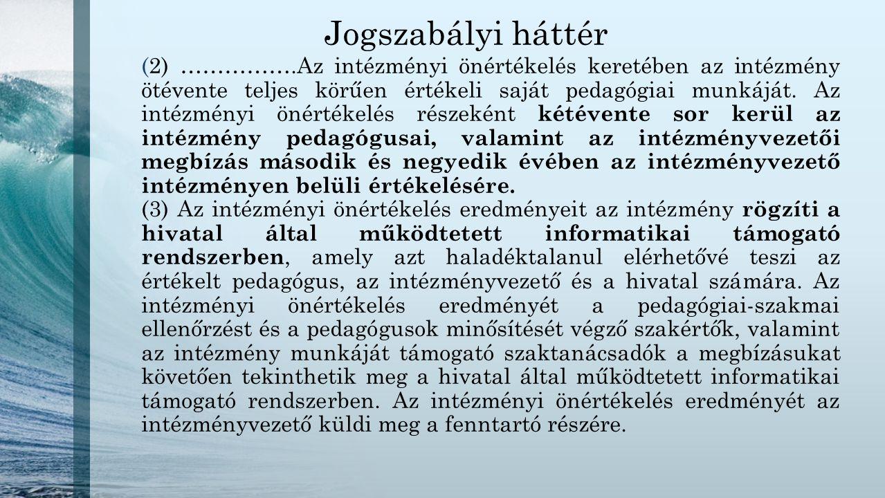 Jogszabályi háttér (2) …………….Az intézményi önértékelés keretében az intézmény ötévente teljes körűen értékeli saját pedagógiai munkáját. Az intézményi