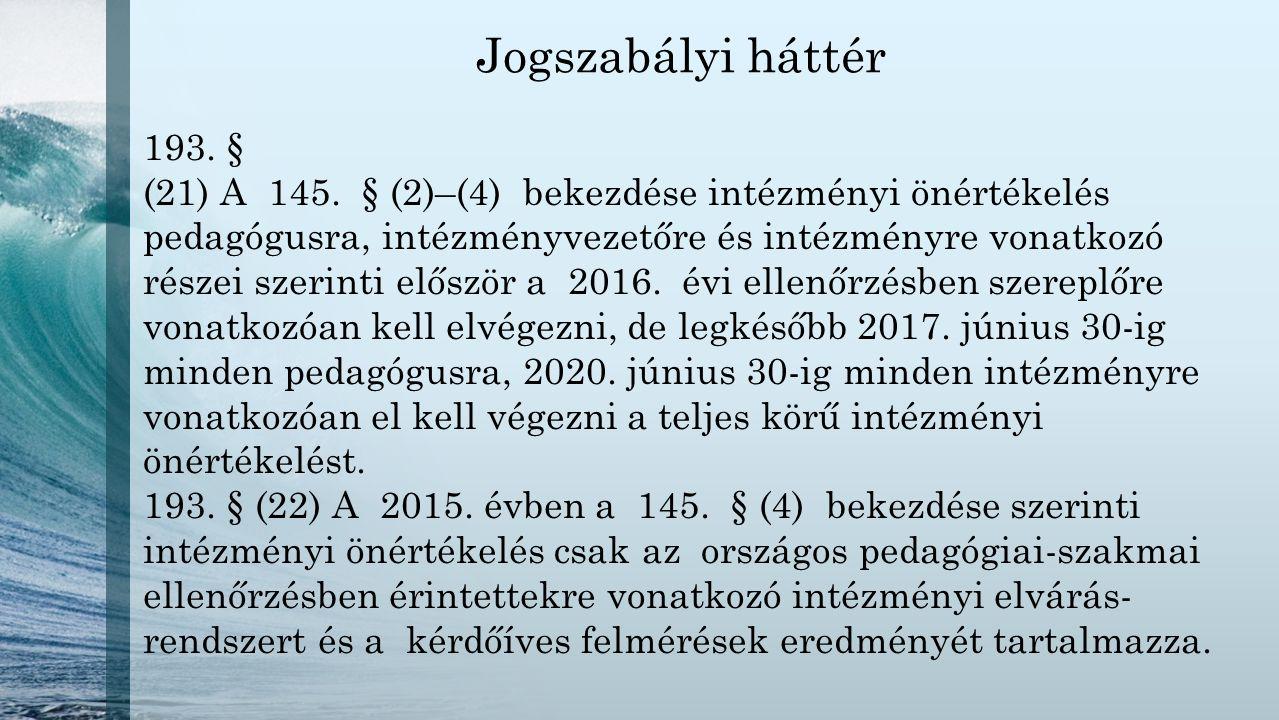 Jogszabályi háttér 193. § (21) A 145. § (2)–(4) bekezdése intézményi önértékelés pedagógusra, intézményvezetőre és intézményre vonatkozó részei szerin