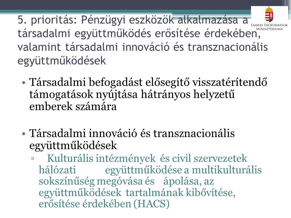 5. prioritás: Pénzügyi eszközök alkalmazása a társadalmi együttműködés erősítése érdekében, valamint társadalmi innováció és transznacionális együttmű