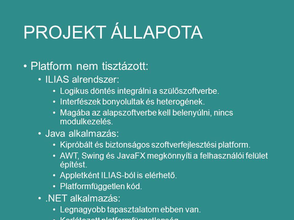 PROJEKT ÁLLAPOTA Platform nem tisztázott: ILIAS alrendszer: Logikus döntés integrálni a szülőszoftverbe.