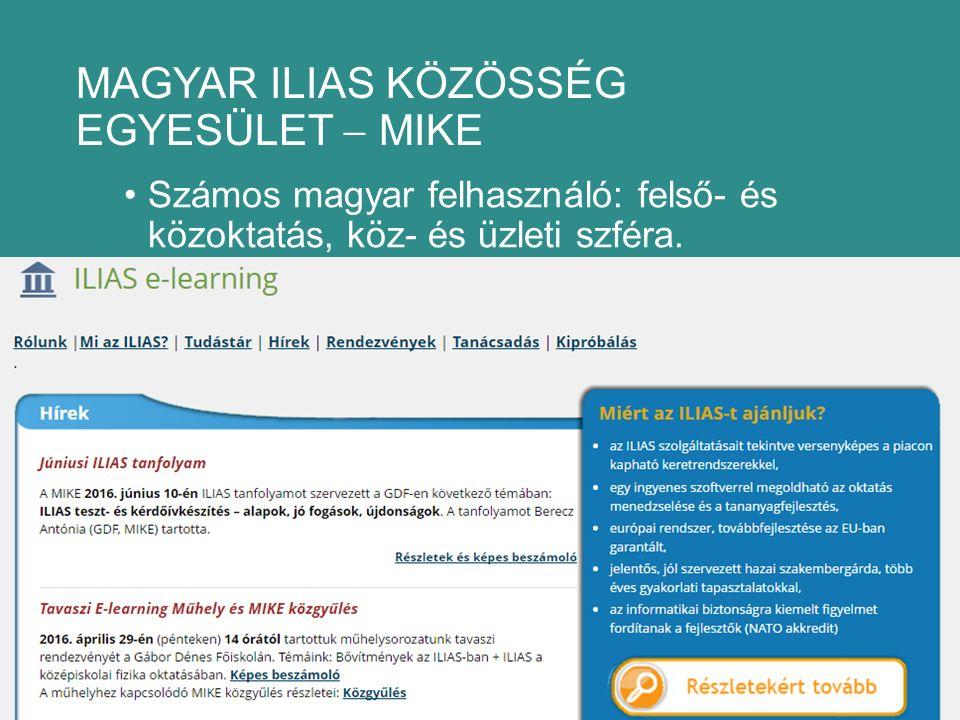 MAGYAR ILIAS KÖZÖSSÉG EGYESÜLET  MIKE Számos magyar felhasználó: felső- és közoktatás, köz- és üzleti szféra.