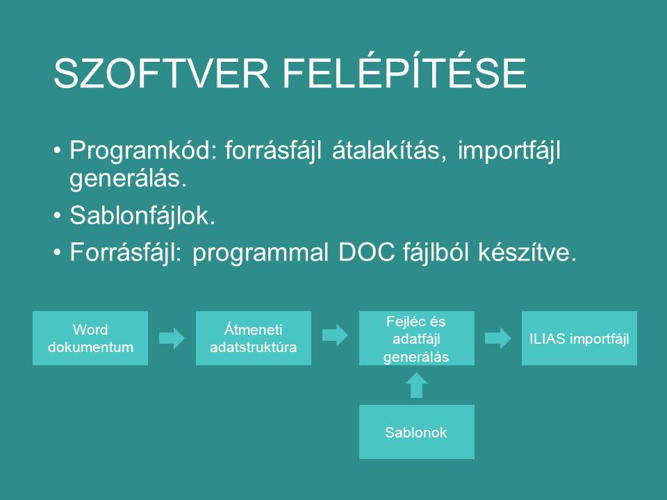 SZOFTVER FELÉPÍTÉSE Programkód: forrásfájl átalakítás, importfájl generálás.