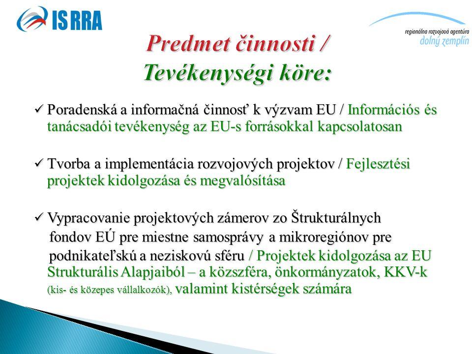 Poradenská a informačná činnosť k výzvam EU / Információs és tanácsadói tevékenység az EU-s forrásokkal kapcsolatosan Poradenská a informačná činnosť k výzvam EU / Információs és tanácsadói tevékenység az EU-s forrásokkal kapcsolatosan Tvorba a implementácia rozvojových projektov / Fejlesztési projektek kidolgozása és megvalósítása Tvorba a implementácia rozvojových projektov / Fejlesztési projektek kidolgozása és megvalósítása Vypracovanie projektových zámerov zo Štrukturálnych Vypracovanie projektových zámerov zo Štrukturálnych fondov EÚ pre miestne samosprávy a mikroregiónov pre fondov EÚ pre miestne samosprávy a mikroregiónov pre podnikateľskú a neziskovú sféru / Projektek kidolgozása az EU Strukturális Alapjaiból – a közszféra, önkormányzatok, KKV-k (kis- és közepes vállalkozók), valamint kistérségek számára podnikateľskú a neziskovú sféru / Projektek kidolgozása az EU Strukturális Alapjaiból – a közszféra, önkormányzatok, KKV-k (kis- és közepes vállalkozók), valamint kistérségek számára