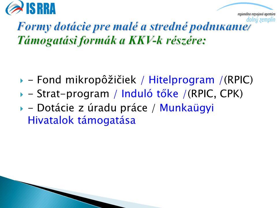  - Fond mikropôžičiek / Hitelprogram /(RPIC)  - Strat-program / Induló tőke /(RPIC, CPK)  - Dotácie z úradu práce / Munkaügyi Hivatalok támogatása