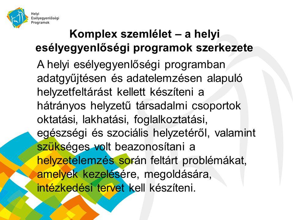 Komplex szemlélet – a helyi esélyegyenlőségi programok szerkezete A helyi esélyegyenlőségi programban adatgyűjtésen és adatelemzésen alapuló helyzetfe