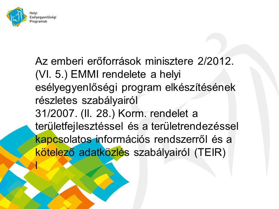 Az emberi erőforrások minisztere 2/2012. (VI. 5.) EMMI rendelete a helyi esélyegyenlőségi program elkészítésének részletes szabályairól 31/2007. (II.