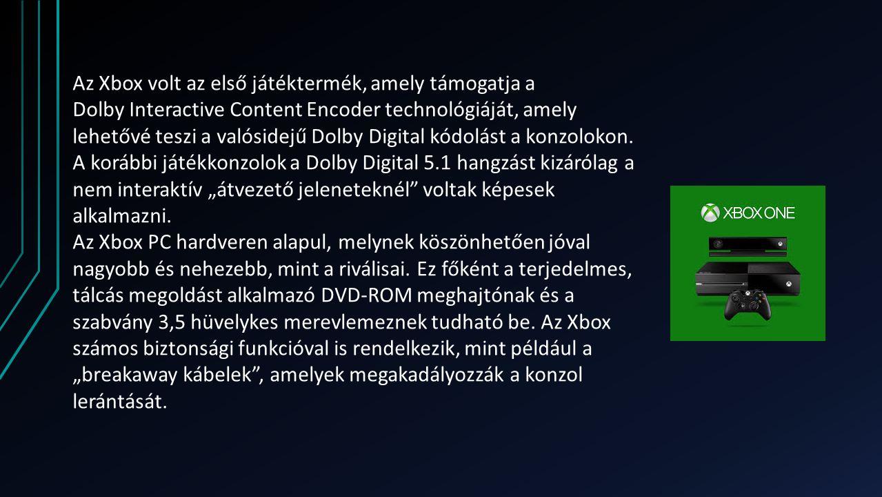 Az Xbox volt az első játéktermék, amely támogatja a Dolby Interactive Content Encoder technológiáját, amely lehetővé teszi a valósidejű Dolby Digital kódolást a konzolokon.