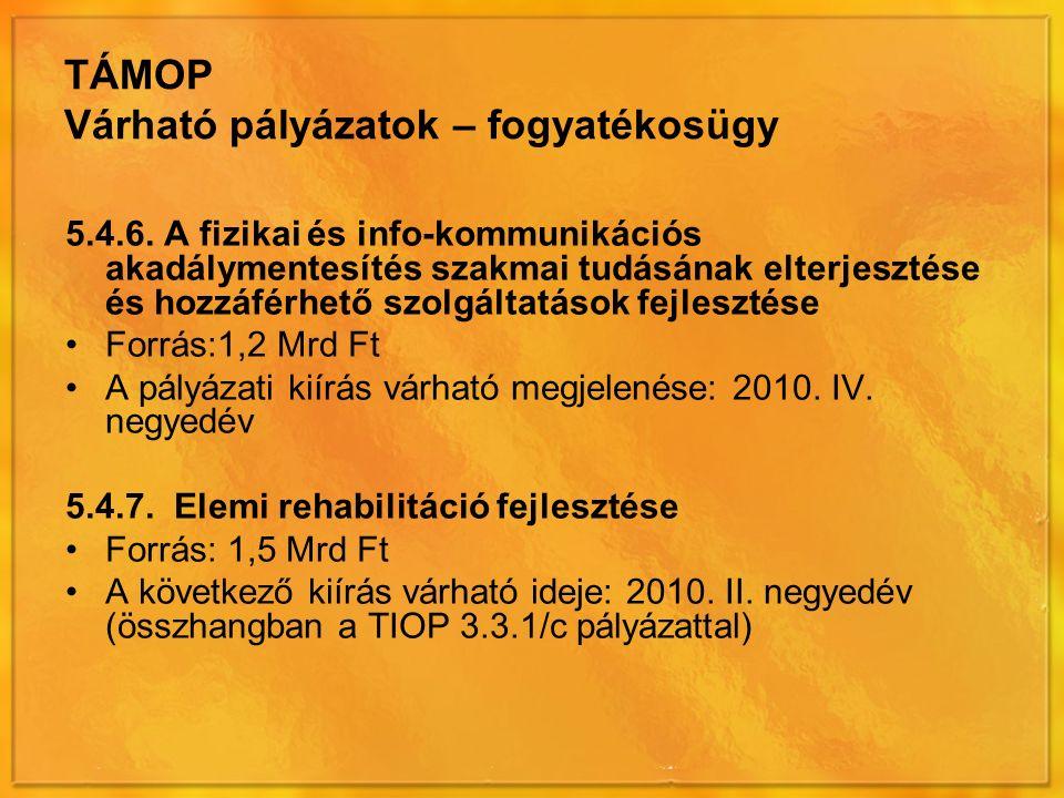 TÁMOP Várható pályázatok – fogyatékosügy 5.4.6.