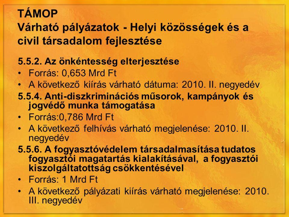 TÁMOP Várható pályázatok - Helyi közösségek és a civil társadalom fejlesztése 5.5.2.