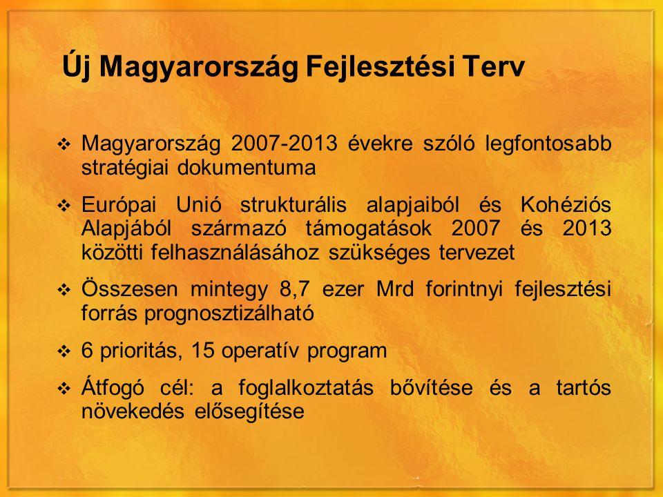 Új Magyarország Fejlesztési Terv  Magyarország 2007-2013 évekre szóló legfontosabb stratégiai dokumentuma  Európai Unió strukturális alapjaiból és Kohéziós Alapjából származó támogatások 2007 és 2013 közötti felhasználásához szükséges tervezet  Összesen mintegy 8,7 ezer Mrd forintnyi fejlesztési forrás prognosztizálható  6 prioritás, 15 operatív program  Átfogó cél: a foglalkoztatás bővítése és a tartós növekedés elősegítése