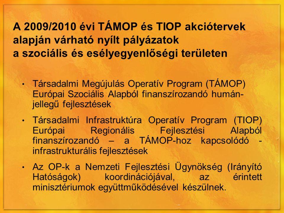 A 2009/2010 évi TÁMOP és TIOP akciótervek alapján várható nyílt pályázatok a szociális és esélyegyenlőségi területen Társadalmi Megújulás Operatív Program (TÁMOP) Európai Szociális Alapból finanszírozandó humán- jellegű fejlesztések Társadalmi Infrastruktúra Operatív Program (TIOP) Európai Regionális Fejlesztési Alapból finanszírozandó – a TÁMOP-hoz kapcsolódó - infrastrukturális fejlesztések Az OP-k a Nemzeti Fejlesztési Ügynökség (Irányító Hatóságok) koordinációjával, az érintett minisztériumok együttműködésével készülnek.