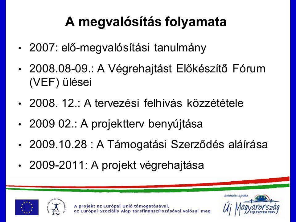 A projekt az Európai Unió támogatásával, az Európai Szociális Alap társfinanszírozásával valósul meg A megvalósítás folyamata 2007: elő-megvalósítási
