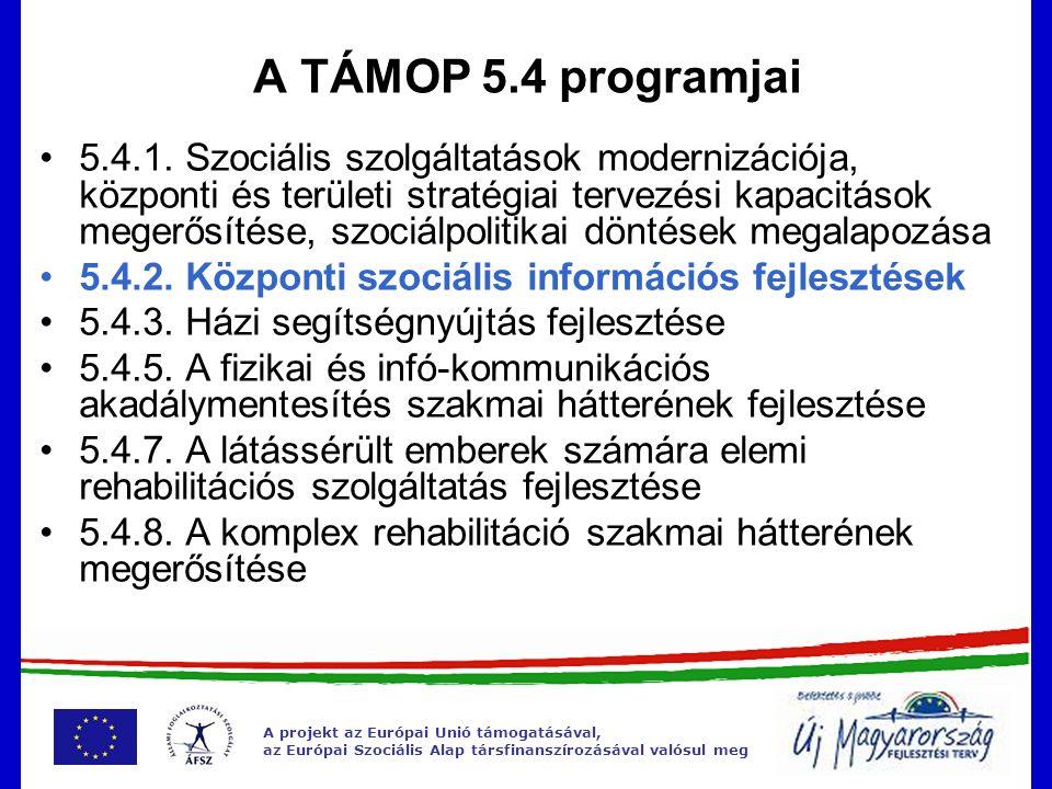 A projekt az Európai Unió támogatásával, az Európai Szociális Alap társfinanszírozásával valósul meg A TÁMOP 5.4 programjai 5.4.1. Szociális szolgálta