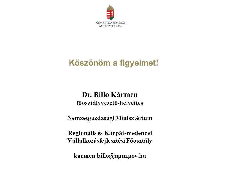 Köszönöm a figyelmet! Dr. Billo Kármen főosztályvezető-helyettes Nemzetgazdasági Minisztérium Regionális és Kárpát-medencei Vállalkozásfejlesztési Főo