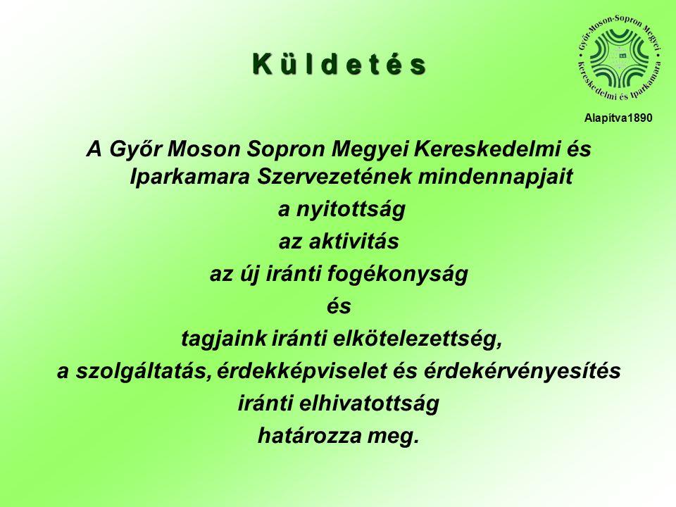 A Győr Moson Sopron Megyei Kereskedelmi és Iparkamara Szervezetének mindennapjait a nyitottság az aktivitás az új iránti fogékonyság és tagjaink iránti elkötelezettség, a szolgáltatás, érdekképviselet és érdekérvényesítés iránti elhivatottság határozza meg.