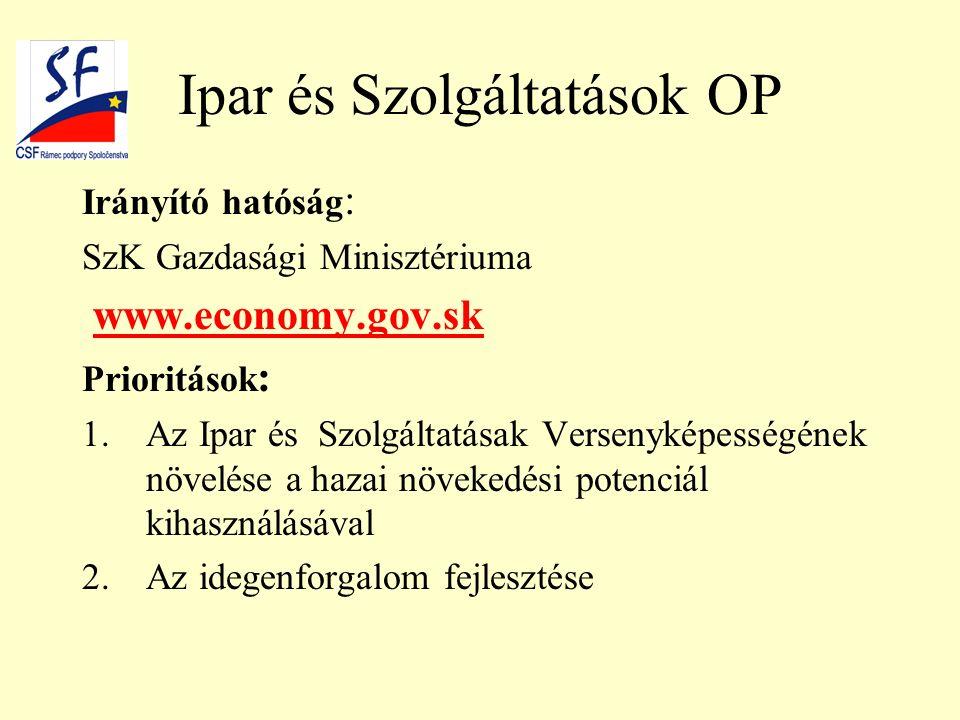 Ipar és Szolgáltatások OP Irányító hatóság : SzK Gazdasági Minisztériuma www.economy.gov.sk Prioritások : 1.Az Ipar és Szolgáltatásak Versenyképességének növelése a hazai növekedési potenciál kihasználásával 2.Az idegenforgalom fejlesztése