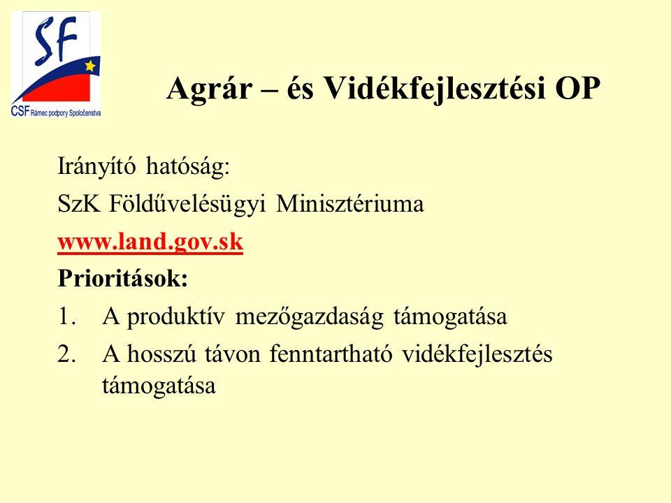 Agrár – és Vidékfejlesztési OP Irányító hatóság: SzK Földűvelésügyi Minisztériuma www.land.gov.sk Prioritások: 1.A produktív mezőgazdaság támogatása 2.A hosszú távon fenntartható vidékfejlesztés támogatása