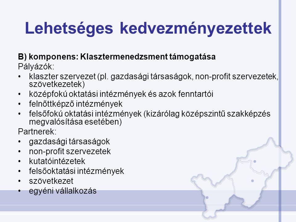 Lehetséges kedvezményezettek B) komponens: Klasztermenedzsment támogatása Pályázók: klaszter szervezet (pl. gazdasági társaságok, non-profit szervezet