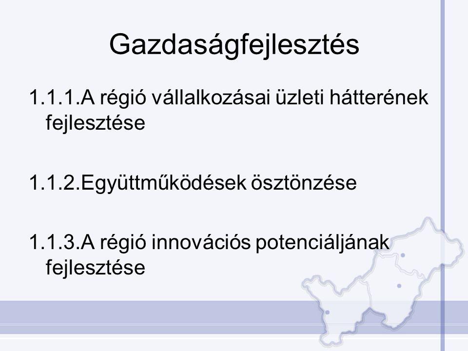 Gazdaságfejlesztés 1.1.1.A régió vállalkozásai üzleti hátterének fejlesztése 1.1.2.Együttműködések ösztönzése 1.1.3.A régió innovációs potenciáljának