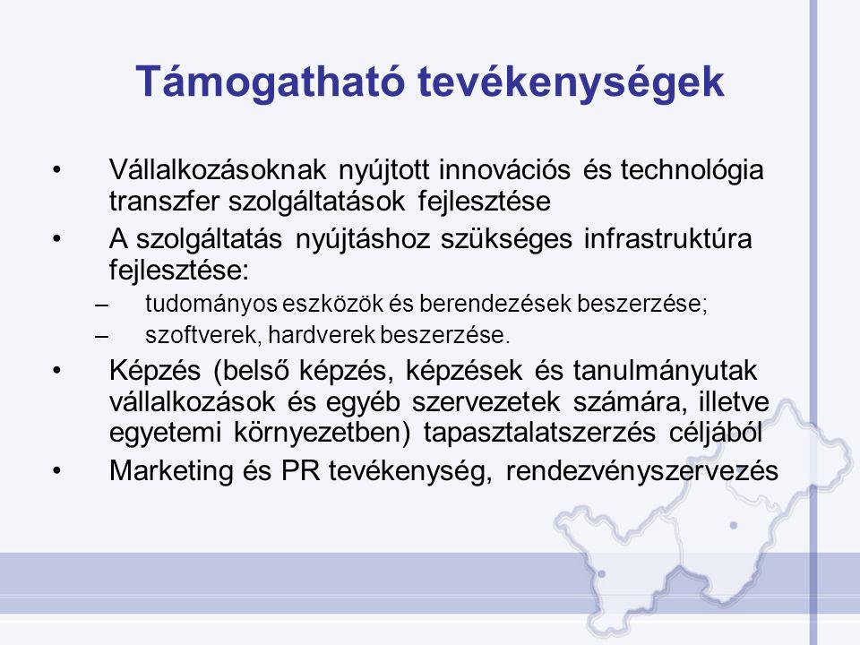 Támogatható tevékenységek Vállalkozásoknak nyújtott innovációs és technológia transzfer szolgáltatások fejlesztése A szolgáltatás nyújtáshoz szükséges