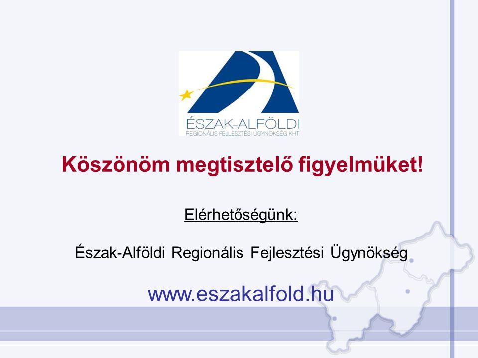 Köszönöm megtisztelő figyelmüket! Elérhetőségünk: Észak-Alföldi Regionális Fejlesztési Ügynökség www.eszakalfold.hu