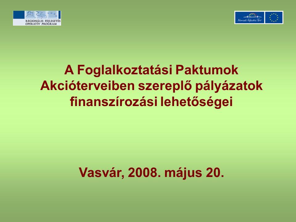 A Foglalkoztatási Paktumok Akcióterveiben szereplő pályázatok finanszírozási lehetőségei Vasvár, 2008. május 20.