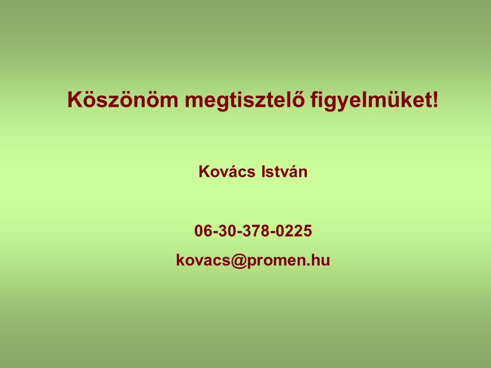 Köszönöm megtisztelő figyelmüket! Kovács István 06-30-378-0225 kovacs@promen.hu
