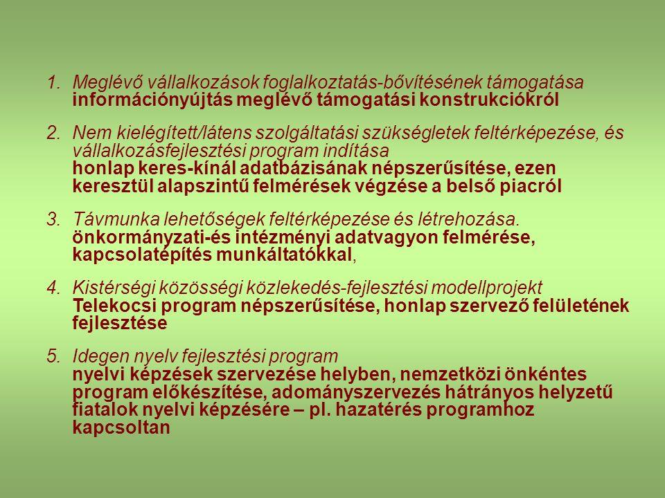 1.Meglévő vállalkozások foglalkoztatás-bővítésének támogatása információnyújtás meglévő támogatási konstrukciókról 2.Nem kielégített/látens szolgáltat